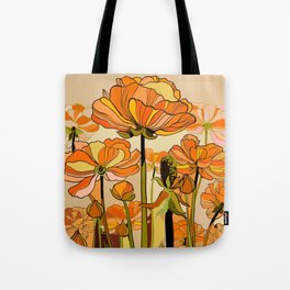 70s, Orange California poppies, mid century, 70s retro, flowers Tote Bag