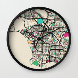 Colorful City Maps: Los Angeles, California Wall Clock