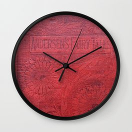 Antique Book Cover * Book Lovers * Literacy Art * Anderson's Fairy Tales * Red * Black Wall Clock