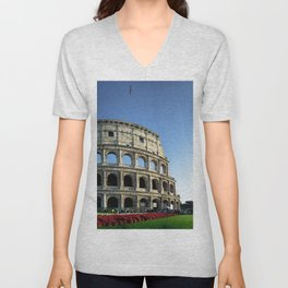 Colosseo red flowers Unisex V-Neck