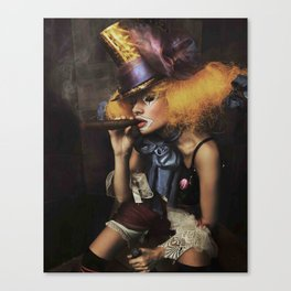 sad Girl clown with old dress smoke a cigar Canvas Print