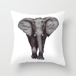 Black and White Elephant in Ink Throw Pillow