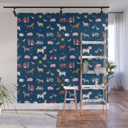 Farm animals nature sanctuary cow pig goats chickens kids gender neutral Wall Mural