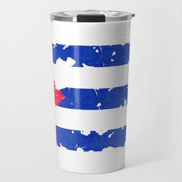 Grundge stylized cuban flag Travel Mug