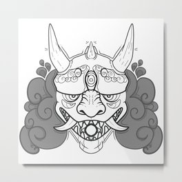 Oni - Black & White Metal Print