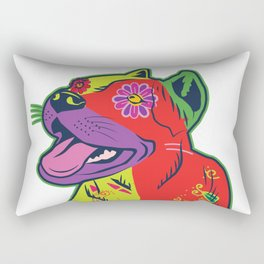 Pit Bull Dog Colorful Abstract Art Digitalart Gift Rectangular Pillow