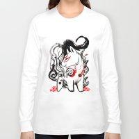 okami Long Sleeve T-shirts featuring Chibi Amaterasu Okami I by Rubis Firenos