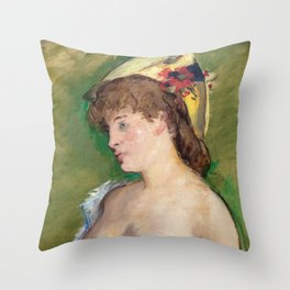 Edouard Manet - The Blonde with Bare Breasts Throw Pillow