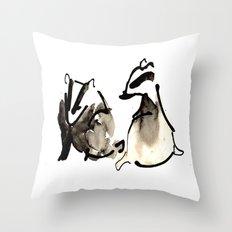 Badger Couple Throw Pillow