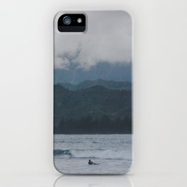 Lone Surfer - Hanalei Bay - Kauai, Hawaii iPhone Case
