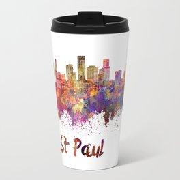 St Paul skyline in watercolor Travel Mug