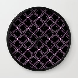 Black and Pink Squares Minimal Design Wall Clock