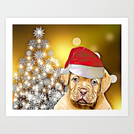 Christmas Dogue de Bordeaux Art Print