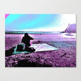 Oceanside Picnic - Vaporwave Aesthetic Canvas Print