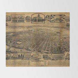 Aerial View of Sacramento, California (circa 1890) Throw Blanket