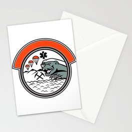 Sea Air Mountain Rescue Honey Badger Mascot Stationery Cards