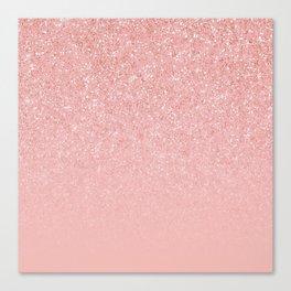 Rose Gold Glitter Cascade Canvas Print