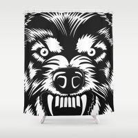 bad wolf Shower Curtains featuring big bad wolf II by Taranta Babu
