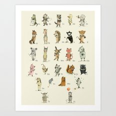 ABC, with tasmanian friend Nursery Wall Art, Kids deco Art Print