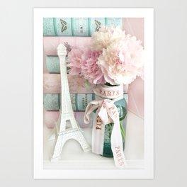 Shabby Chic Eiffel Tower Paris Peonies  Art Print