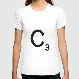 Letter C - Custom Scrabble Letter Wall Art - Scrabble C T-shirt