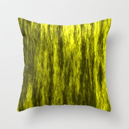 Bright texture of coated paper from yellow flowing waves on a dark fabric. Throw Pillow