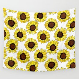 Sunflowers are the New Roses! - White Wall Tapestry