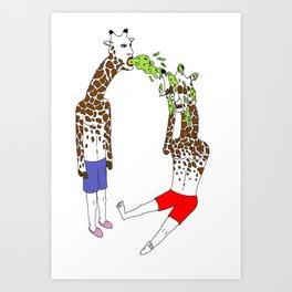 giraffe boyz Art Print