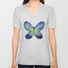Space Butterfly - Blue Green Unisex V-Neck