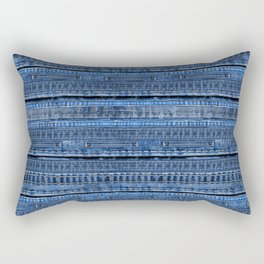 Cool Blue Jeans Denim Patchwork Design Rectangular Pillow