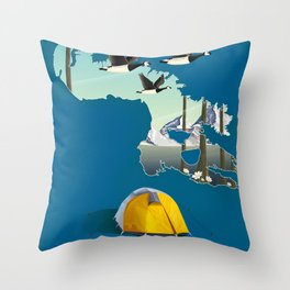 Baffin island Canada travel poster, Throw Pillow