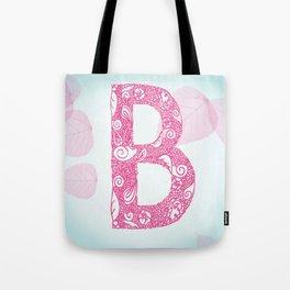 Floral Letter 'B' Tote Bag