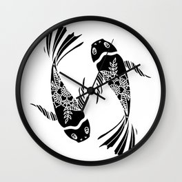 Koi Fish Black and White Palette Wall Clock