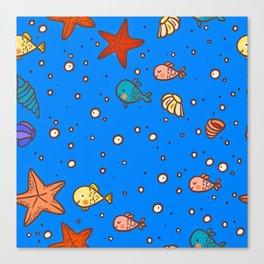 Cute Retro SeaLife Seamless Pattern Canvas Print