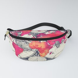 World map 10 #worldmap #map Fanny Pack