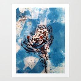 Blue Rose Mono Print Art Print