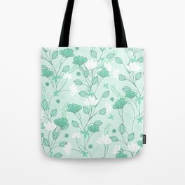 Vintage flowers in a green background Tote Bag