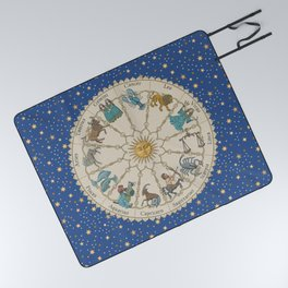 Vintage Astrology Zodiac Wheel Picnic Blanket