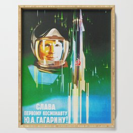 Gagarin - Soviet vintage space poster Serving Tray