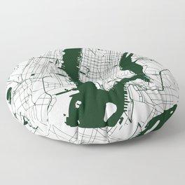 New York City White on Green Street Map Floor Pillow