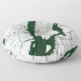 New York City White on Green Street Map Floor Pillow