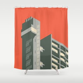 Trellick Tower London Brutalist Architecture - Plain Red Shower Curtain