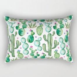 Watercolor Cactus Pattern Rectangular Pillow