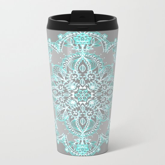 Teal and Aqua Lace Mandala on Grey Metal Travel Mug