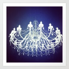 Chandelier | Black and White Photography | Romantic, Sparkly, Dreamy Light Art Print