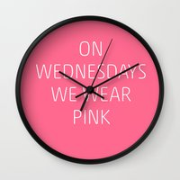 mean girls Wall Clocks featuring Mean Girls #8 – Pink by Enyalie