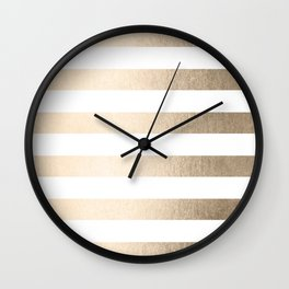 Simply Stripes in White Gold Sands Wall Clock