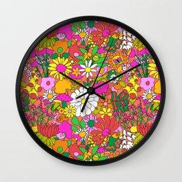 60's Groovy Garden in Neon Peach Coral Wall Clock