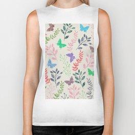 Watercolor flowers & butterflies Biker Tank