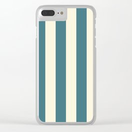 Blue-green and cream  vertical stripes Clear iPhone Case